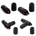 Waterproof connector Form T IP67 2 or 3 pins Socket assembly Wire plug Cable