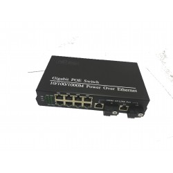 Fiber Optical Media Converter with 8 RJ45 10/100/1000Mbps POE SC fiber port